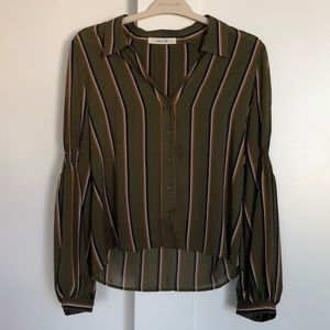 Paris & Me Olive Striped Collared Blouse